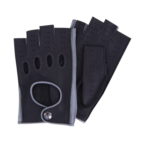 JACKIE - FINGERLESS DRIVING GLOVES BLACK AND GREY