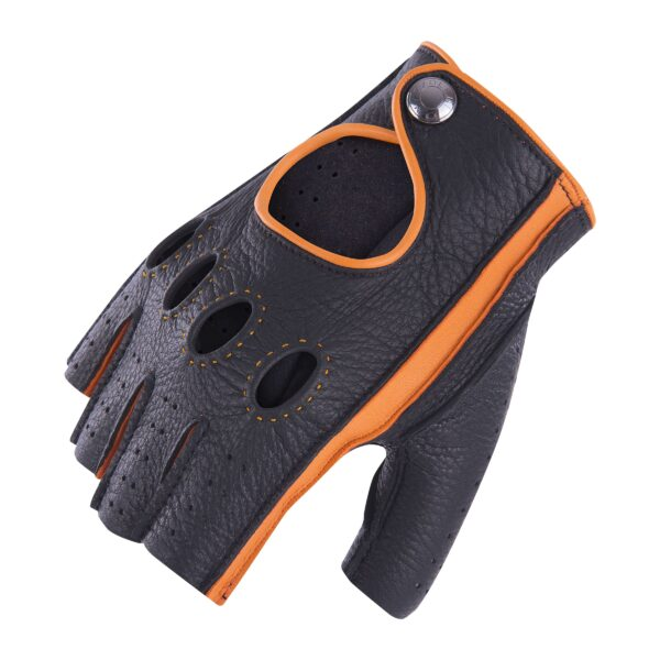 JACKIE - FINGERLESS DRIVING GLOVES BLACK AND ORANGE