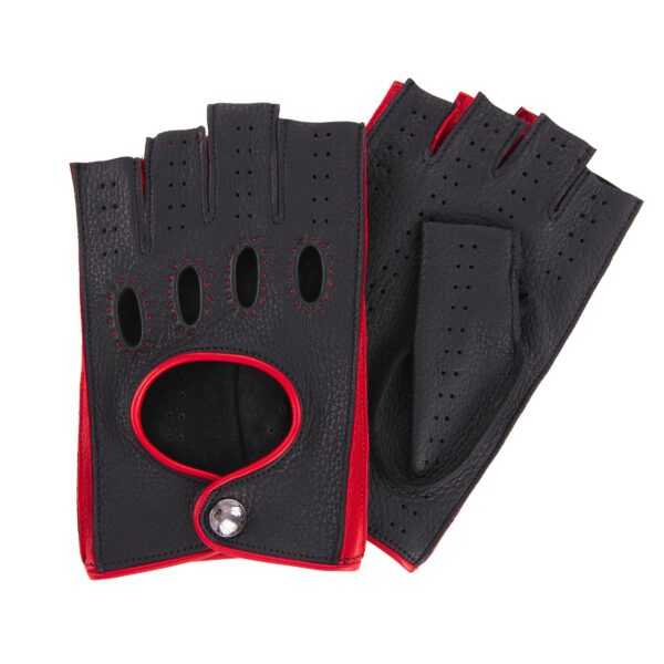 JACKIE - FINGERLESS DRIVING GLOVES BLACK AND RED