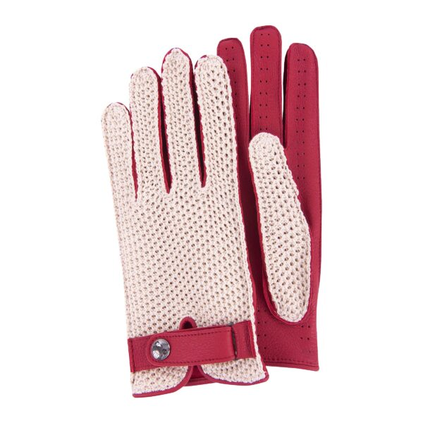 JOEY - DRIVING GLOVES STRINGBACK CROCHET AND RED