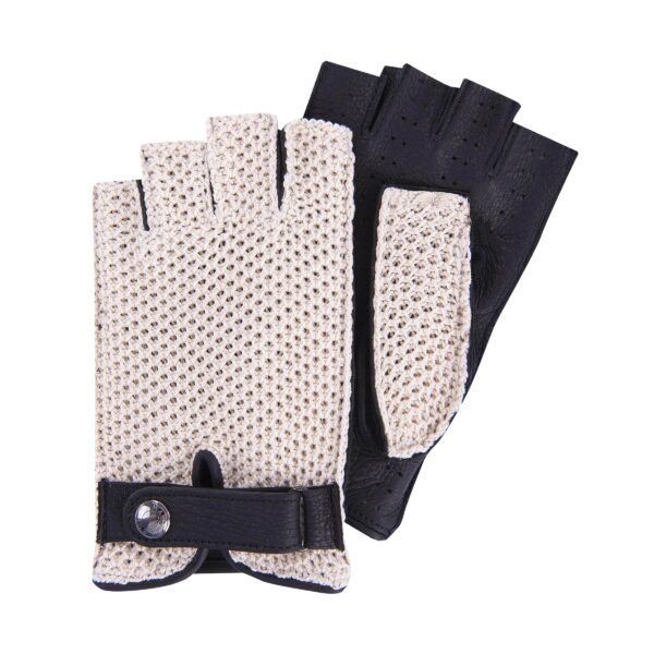 JOEY - FINGERLESS DRIVING GLOVES STRINGBACK CROCHET AND BLACK