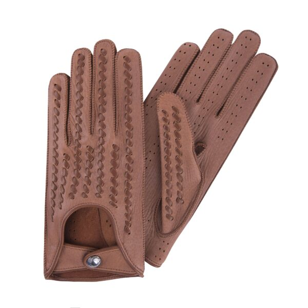 KENNY - DRIVING GLOVES WOVEN BALCK COGNAC - BROWN